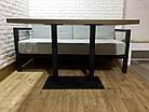 Прямоугольные столы для кафе баров из массива дерева и ножки из металла, фото 4