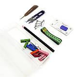 Набор для пэчворка и квилтинга 15 ед 2 коврика А3 + А4 мат лекало дисковый нож для шитья, фото 5