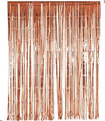 Шторка-занавес из фольги для фотозоны розовое золото 3 х1 метр