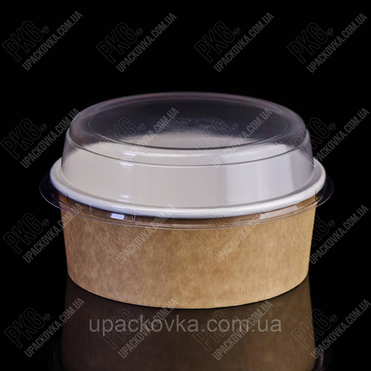 Упаковка для салата из бумаги КРАФТ 750 мл., d-150, h-56мм. 50шт/уп, 6уп/ящ.