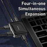HUB адаптер BASEUS Type-C, Fully Folded Portable, 4USB, сірий, фото 6