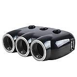Разветвитель прикуривателя тройник KONI STRONG KS45, 2USB, 3.1А, черный, фото 2