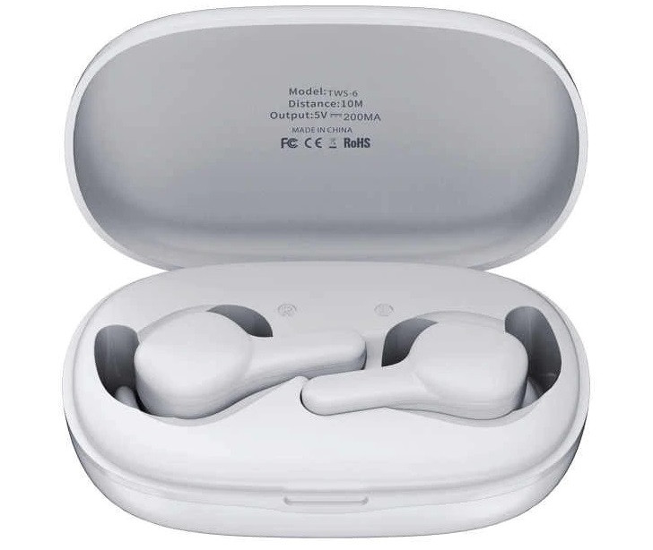 Наушники Bluetooth REMAX True TWS-6 в кейсе, белые