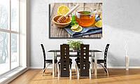 """Картина для кухни на холсте """"Стеклянная чашка чая с лимоном, мятой, имбирем и медом на деревянном столе"""""""