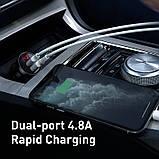 Адаптер автомобильный BASEUS Digital Display Dual USB, 2USB, 4.8A, 24W с кабелем, черный, фото 7