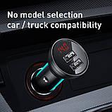 Адаптер автомобильный BASEUS Digital Display Dual USB, 2USB, 4.8A, 24W с кабелем, черный, фото 8