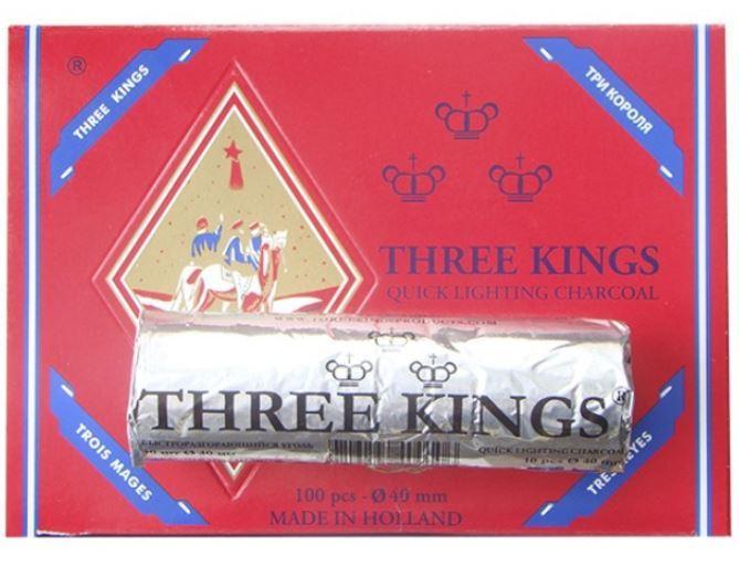 Вугілля для кальяну таблетований «Три короля» (діаметр 33 мм)