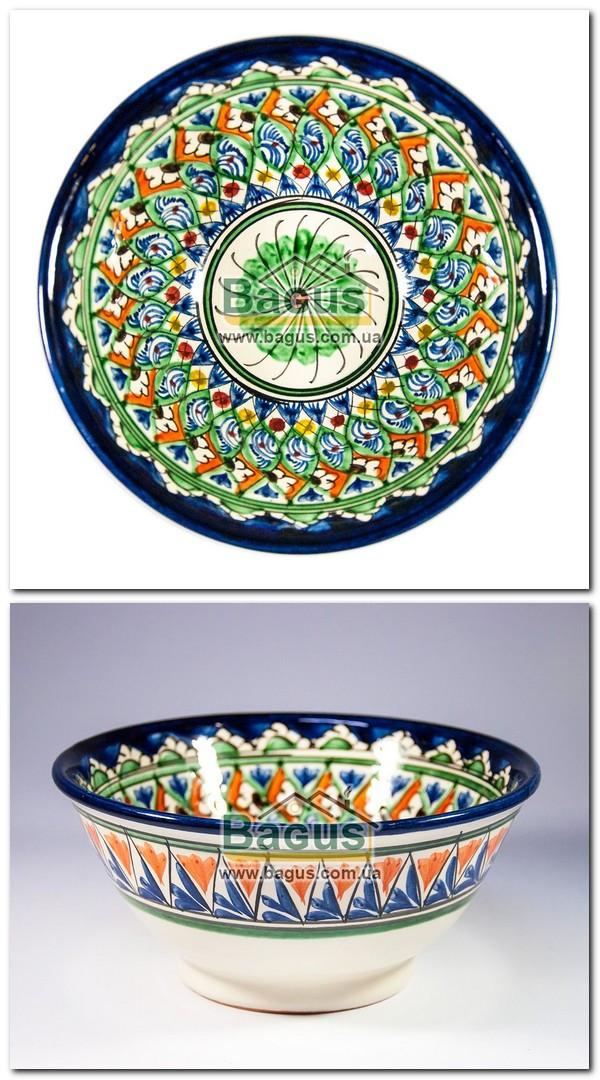 Салатник узбекский (глубокая тарелка, суповая миска узбекская) 850мл, d-18см h-8см ручная работа 1808-09