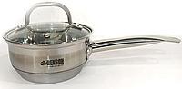 Ковш кухонный из нержавеющей стали с стеклянной крышкой Benson 1.0 л | Индукционная кастрюля из нержавейки