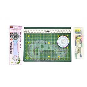 Набор для пэчворка и квилтинга Базовый 11 ед. А4 коврик, Инструменты для начинающих, Шитье Вышивание Рукоделие