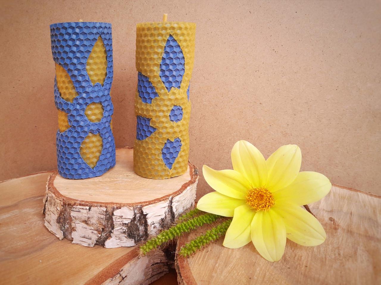 Набір воскових свічок з кольоровою вощини Квітковий Zigrivay (13х4,5см) 2 шт (10010)