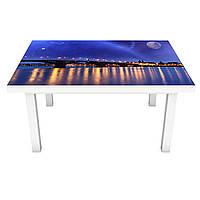 Виниловая 3Д наклейка на стол Ночной город у воды (ПВХ пленка самоклеющаяся) космос Архитектура Синий 650*1200