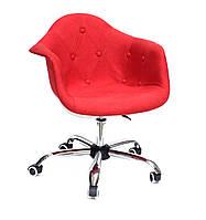 Кресло офисное пластиковое на колесах Leon Soft Office вискоза , КРАСНЫЙ К-9
