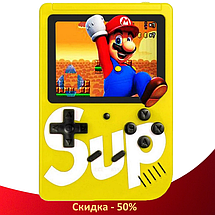 Игровая приставка SUP Game Box 400в1 Желтая - Приставка Dendy для двух игроков с джойстиком, подключением к ТВ, фото 2