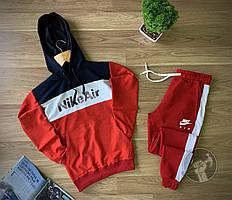 Мужской спортивный костюм Nike Air сине-красный (Спортивный костюм Найк с лампасами и капюшоном)
