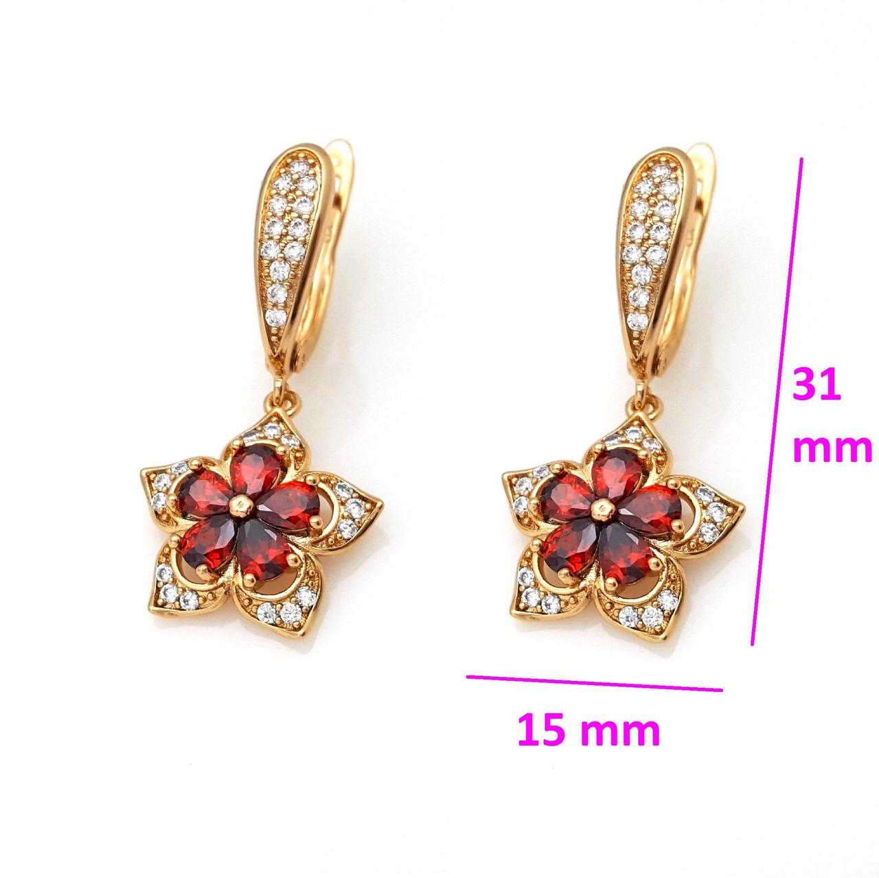Сережки, Квітка з червоним цирконієм, англ.замок, позолота Xuping, 18К