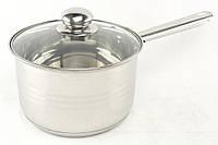 Ковш кухонный из нержавеющей стали с стеклянной крышкой A-PLUS 3.9 л | Индукционная кастрюля из нержавейки
