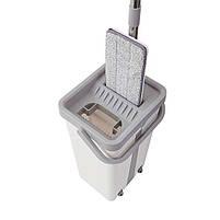 Комплект для прибирання відро і швабра-ледащо з віджимом EasyMop світло-сірий, фото 2
