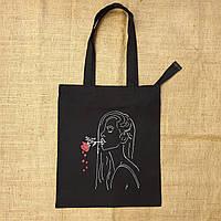 Экосумка - шоппер ручная роспись Девушка с розой Розас хлопковой ткани