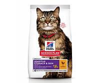 Hill's Science Plan Adult Sensitive Stomach & Skin для кошек c курицей 7 кг