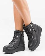 Зимние кожаные женские ботинки на платформе Черные Размеры 36-41