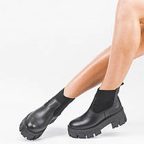 Женские массивные ботинки на тракторной подошве Черные Размеры 36-41, фото 3