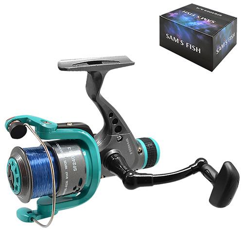 Катушка SAMS FISH 5000 3bb задний фрикц. с леской,графит.шпуля