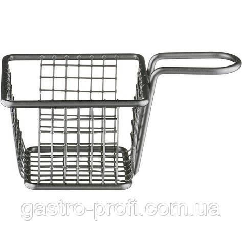 Корзинка черная для подачи картофеля фри и других закусок 100*100*70 мм Stalgast 546054, фото 2