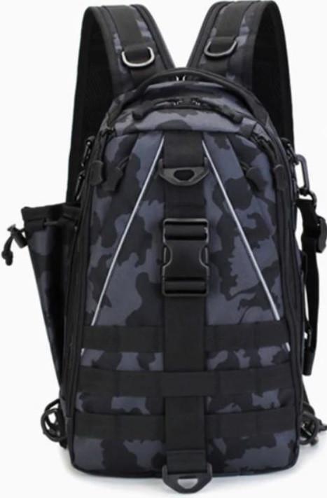 Сумка-рюкзак тактическая, черный камуфляж