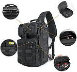 Сумка-рюкзак тактическая военная A92 800D, черная, фото 6