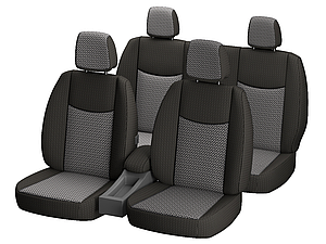 """Автомобильные чехлы """"Nika"""" для LADA  GRANTA sedan 5 подголовников 2011- задняя спин. закрытый тыл; цельная; airbag."""