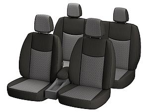 """Автомобильные чехлы """"Nika"""" для SKODA SUPERB I 2002-2008 задняя спинка цельная; подлокотн; 5подгол; пер / подлок;airbag."""