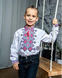 Детская вышиванка Марко,,ткань сорочечная, р, 110,116,134,146, белая с красн,  дитяча вишиванка