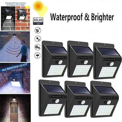 Набір 6шт. Вуличний ліхтар світлодіодний прожектор з датчиком руху на сонячній батареї Sh-1605