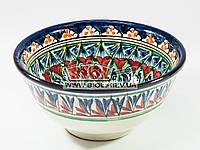 Миска узбекская глубокая 16х7,5см 600мл, ручная роспись (вариант 4)