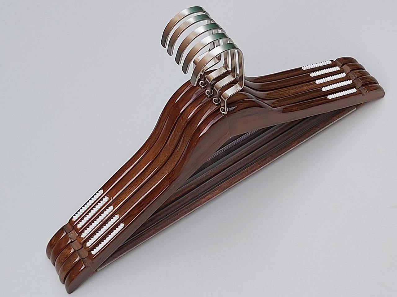 Плечики длиной 44 см деревянные коричневого цвета, 5 штук в упаковке