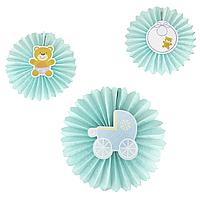 Бумажный веер для декора детской, голубой