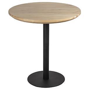 Круглые столы в кафе из массива дерева и металлическая черная опора