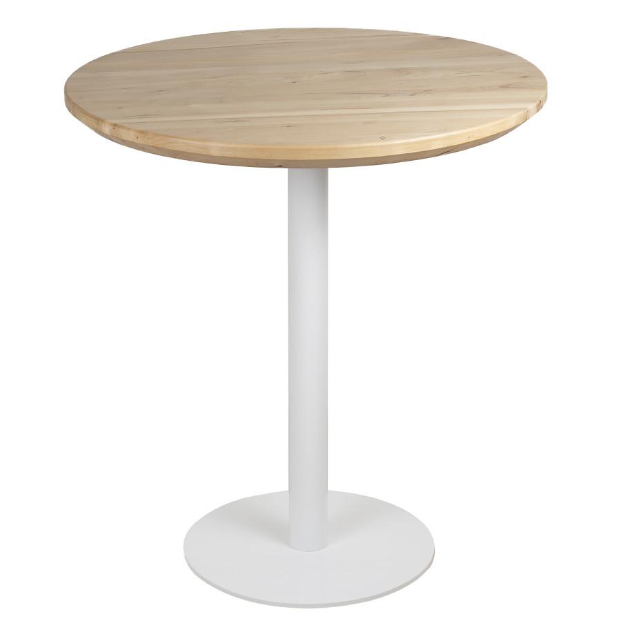 Круглі столи в кафе з масиву дерева і металева біла опора