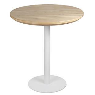 Круглые столы в кафе из массива дерева и металлическая белая опора