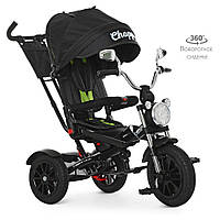 Дитячий триколісний велосипед TURBO TRIKE M 4056HA-20 Чорний | Велосипед-коляска Турбо Трайк музика і світло