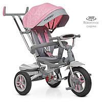 Дитячий триколісний велосипед TURBO TRIKE M 4058-15 Рожевий | Велосипед-коляска Турбо Трайк світло