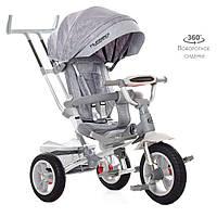Дитячий триколісний велосипед TURBO TRIKE M 4058-19 Сірий | Велосипед-коляска Турбо Трайк Bluetooth