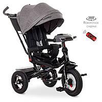 Детский трехколесный велосипед Turbo Trike M 4060HA-19T Серый твид | Велосипед-коляска Турбо Трайк