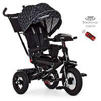 Детский трехколесный велосипед Turbo Trike M 4060HA-22V Черный | Велосипед-коляска Турбо Трайк