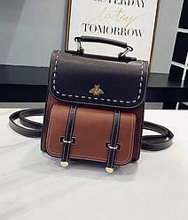 Рюкзак-сумка женский трансформер в винтажном стиле коричневый.