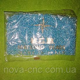 Бисер мелкий №9 голубой полупрозрачный с серебристым отверстием 50 грамм Япония ТМ MGB