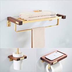 Дерев'яний набір аксесуарів для ванної. Модель RD-6547