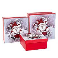 """Набор новогодних подарочных коробок """"Санта с другом"""" 3 шт. средние (20х20х9.5 см), фото 1"""