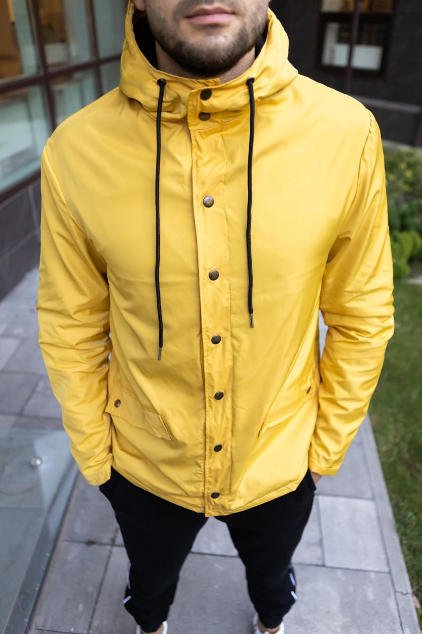 Куртка мужская с капюшоном весенняя осенняя River | желтая ЛЮКС качества